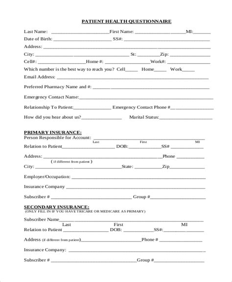 Sle Health Questionnaire Form 10 Free Documents In Word Pdf Health And Wellness Questionnaire Template