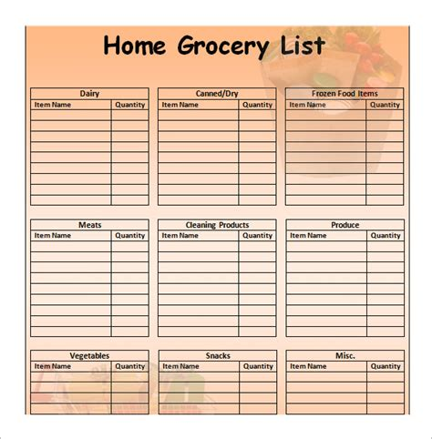 grocery list template excel sle grocery list template 9 free documents in word
