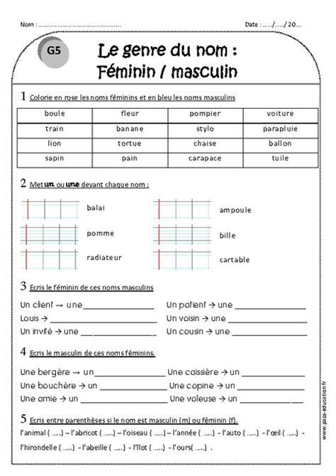 Is Calendrier Masculine Or Feminine Genre Du Nom F 233 Minin Et Masculin Ce1 Exercices 224