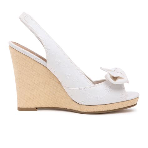 Sandal Wanita Sku551 vancl floral embroidery bow wedge sandals white