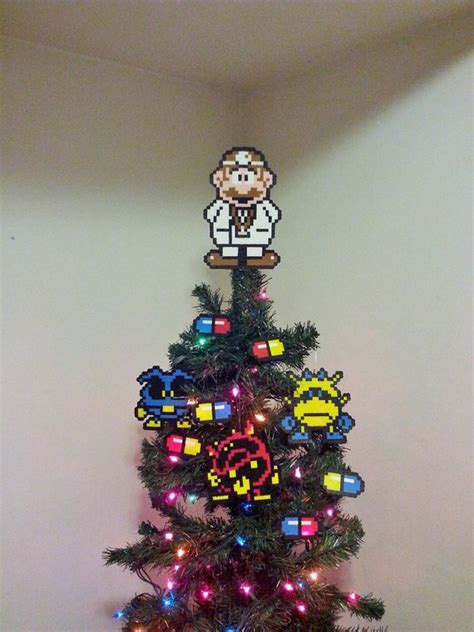 mario tree topper items similar to dr mario perler bead tree topper and ornament set 10