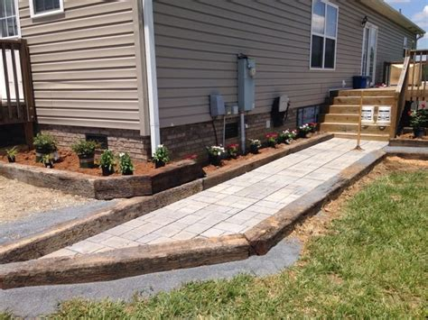 Railroad Tie Landscaping Ideas Railroad Ties And Walkway With Flower Bed House Ideas Pinterest Shops Backyards And Walkways