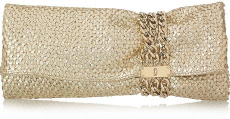 Jimmy Choo Jimmy Choo Woven Calf Oversized Clutch Lindsay Lohan by Jimmy Choo Chandra Chain Embellished Woven Leather Clutch