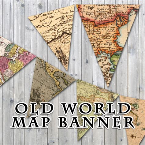 printable banner map old world map printable banner includes 3 sizes instant