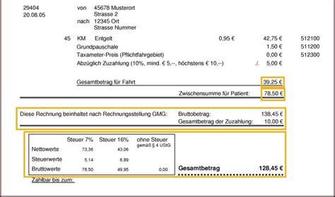 Muster Rechnung Taxi Musterrechnung Anlage 6 Rahmenvertrag In Hessen