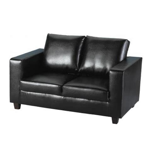 black faux leather two seater sofa tempo 2 seater sofa in a box made of black faux leather