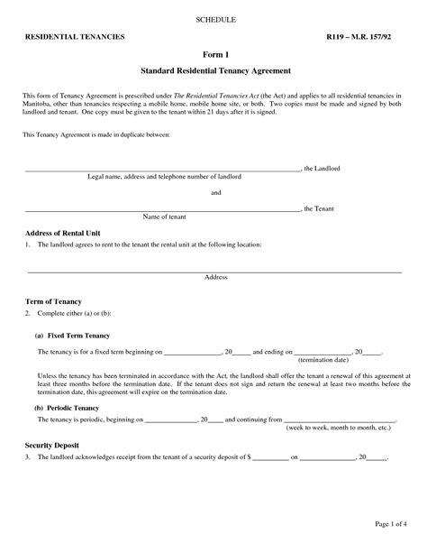 printable landlord lease agreement best photos of landlord agreement template free