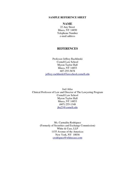 Reference Page For Resume by Sle Reference Page For Resume Best Professional