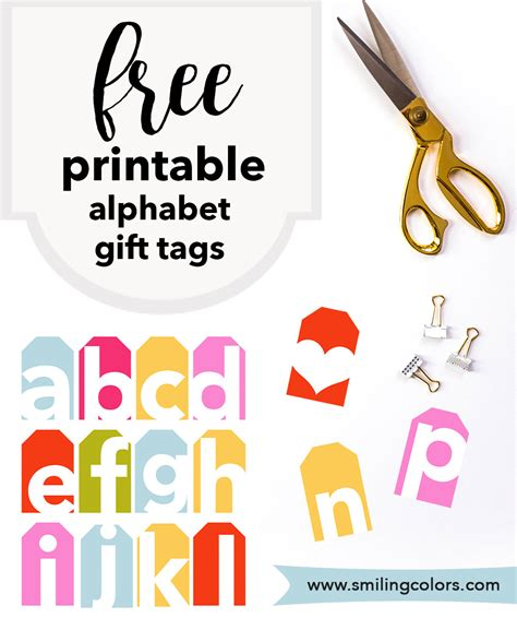 printable letter gift tags alphabet gift tags add a nice colorful type vibe to your