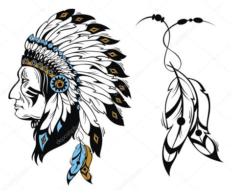 eps native format north american indian chief vector illustration stock