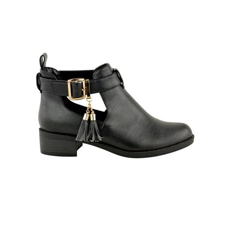 boots with tassels black flat ankle boots with tassel detail parisia