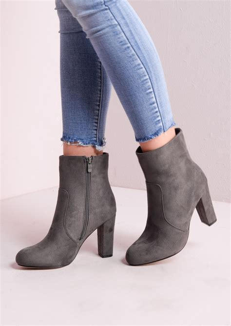 Boots Grey zip suede block heel ankle boots grey