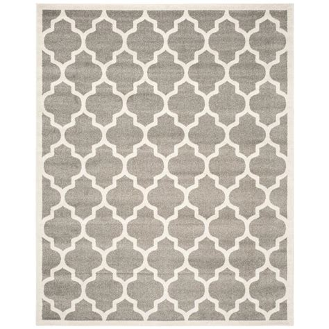 Home Depot Outdoor Rug Safavieh Amherst Gray Beige 8 Ft X 10 Ft Indoor Outdoor Area Rug Amt420r 8 The Home Depot