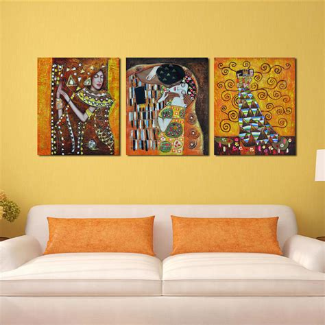 famous wall paintings bedroom famous artist art deco kiss abstract cheap modern