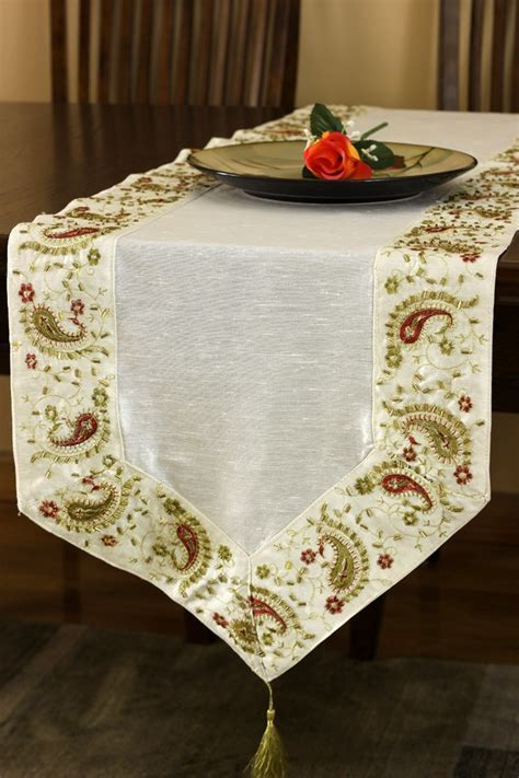 Glamorous Border Hand Embroidered Table Runner   Banarsi