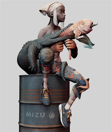 Toner Mizu jean fanart mizu 3d sculpt on behance