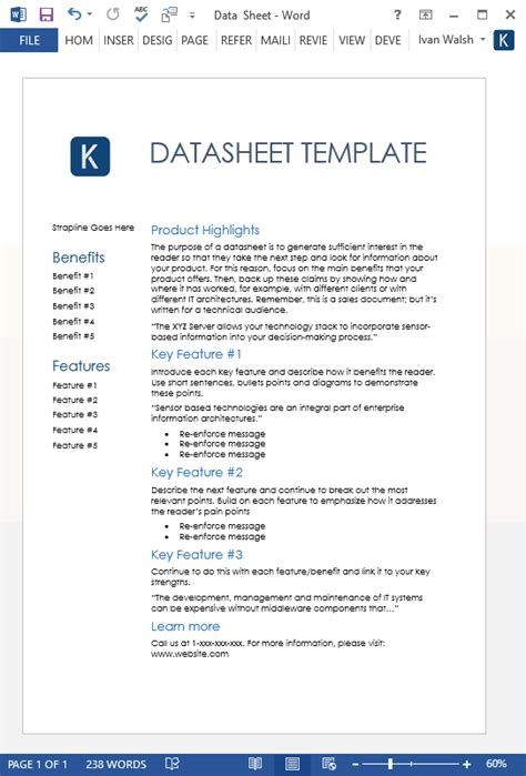 datasheet template word datasheet templates 2 x ms word