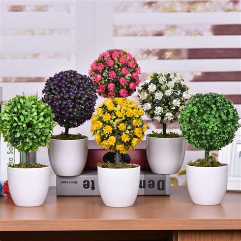 office desk decoration items decorative green artificial flowers bonsai cheap