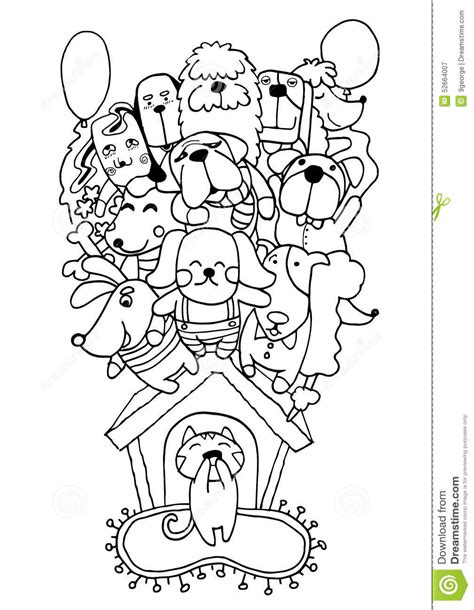 doodle dogs drawing doodle puppy background stock vector