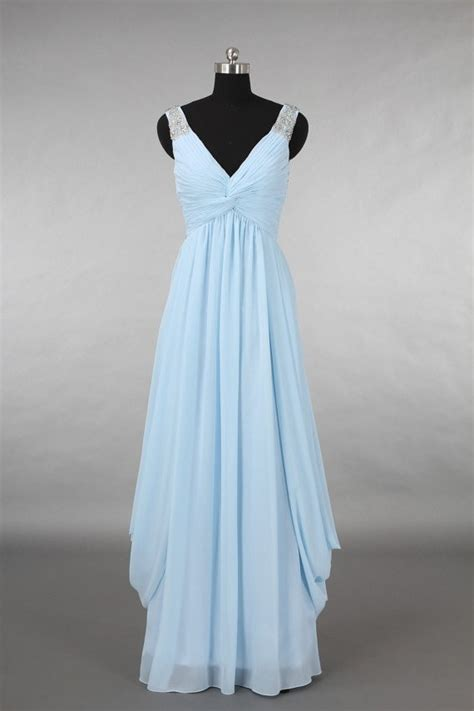 V Neck Chiffon Dress v neck empire waist light blue chiffon draped