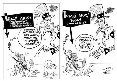 146012 600 then and now cartoons us view of iraqi army before aftr 2003 political cartoon