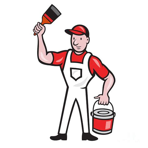 Wall Painters by House Painter Holding Paint Can Paintbrush Cartoon Digital