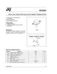326 transistor datasheet bu326a stmicroelectronics high voltage npn silicon