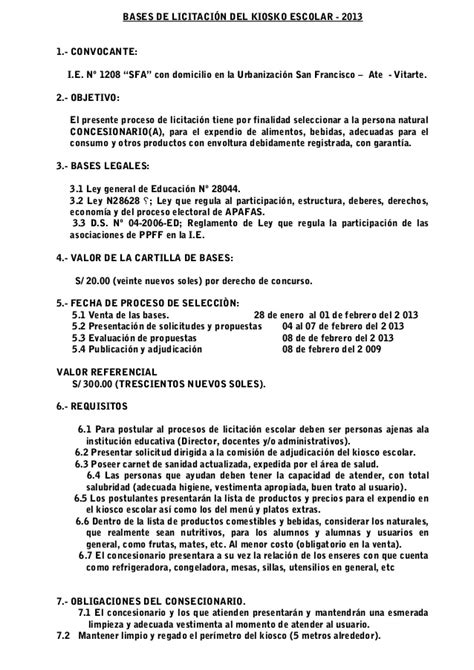 carta de licitacion modelo 2013 1208 sfa bases de licitaci 243 n kiosko escolar