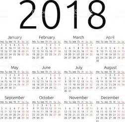 Calendario Nacional 2018 Calend 225 Simples Vetor De 2018 Vetor E Ilustra 231 227 O