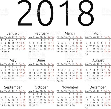 Calendã 2018 Vetor Simple Vecteur Calendrier 2018 Stock Vecteur Libres De