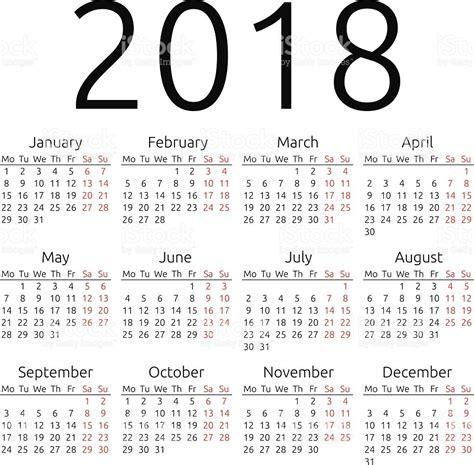 Calendario Annuale 2018 Calend 225 Simples Vetor De 2018 Vetor E Ilustra 231 227 O