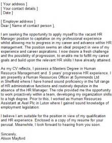human resources covering letter sle