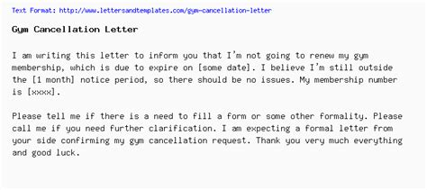 Fitness Connection Cancellation Letter cancellation letter
