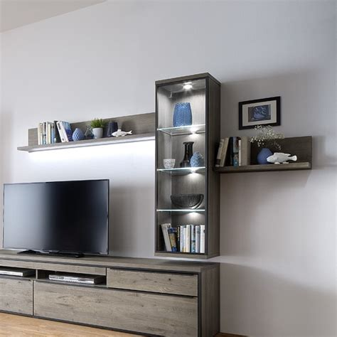 wall mounted display units for living room seattle wall mounted display unit in oak grey and led