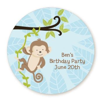 Monkey Stickers Baby Shower by Monkey Boy Personalized Sticker Labels Monkey Boy