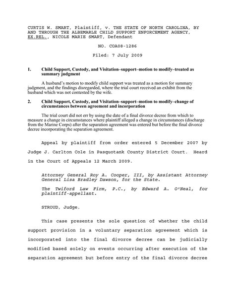 separation agreement template nc template design
