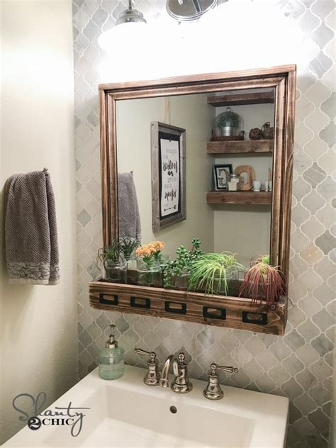 diy farmhouse storage mirror  youtube video tutorial
