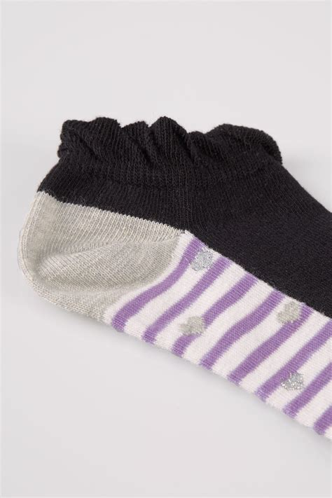 Multi Block 5 pack multi block colour stripe trainer socks