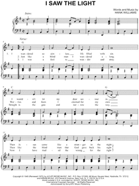 Song I Saw The Light by Hank Williams Sheet Downloads At Musicnotes
