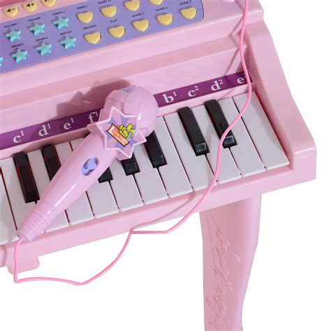 Sale Mainan Musical Keyboard Pink homcom 37 key electronic keyboard mini grand piano w stool microphone musical pink