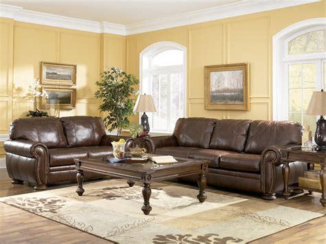 ashley furniture leather living room sets palmer walnut living room set by ashley furniture 20500 leather living room