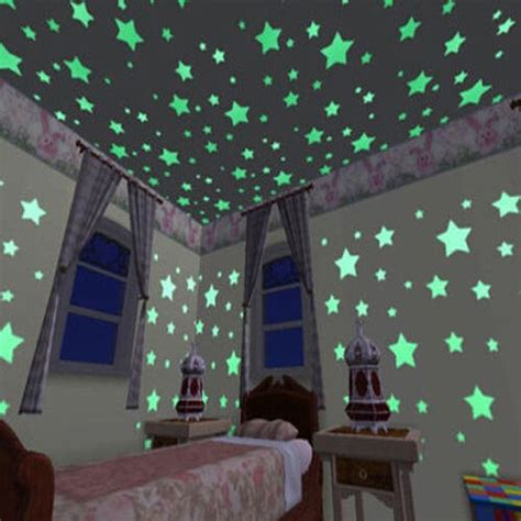 home decor star 100pcs wall stickers decal glow dark baby kids bedroom