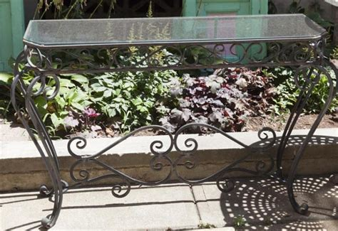 outdoor wrought iron console table glass top wrought iron outdoor console table