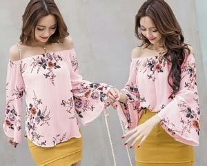 Sabrina Blouse Lengan Panjang Kimi model baju atasan sabrina wanita motif bunga lengan