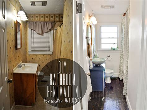before after diy bathroom renovation 1 000