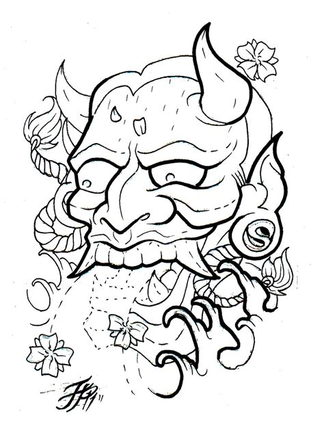 add on tattoos designs hannya flash outline by eltri on deviantart