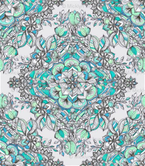 doodle god how to make fabric floral doodle in mint green turquoise and grey
