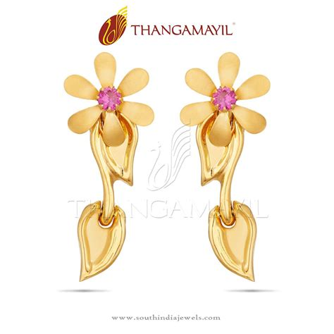 22k gold floral ear stud south india jewels