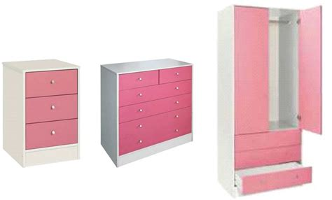 Pink Wardrobe by Malibu 3 Bedroom Set Wardrobe Drawer Chest Bedside