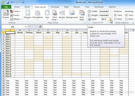 excel layout for printing excel course page layout